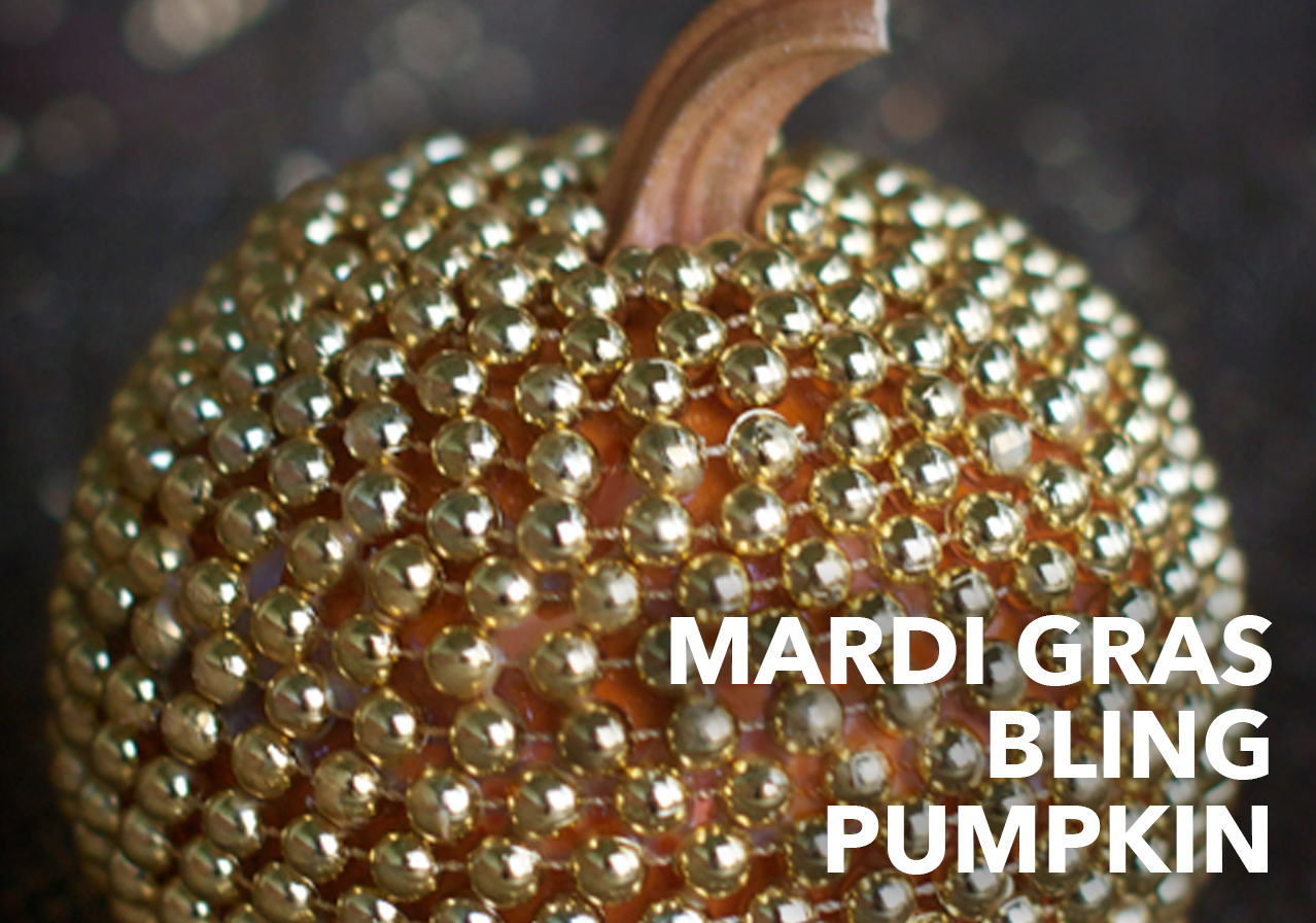 mardi gras gold bling pumpkin