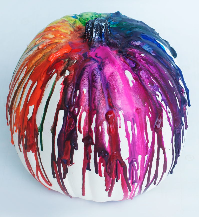 Melted Rainbow Crayon Pumpkin DIy Easy Ideas