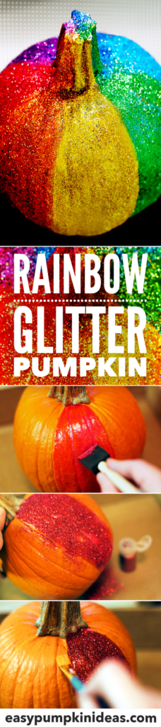 rainbow glitter pumpkin diy